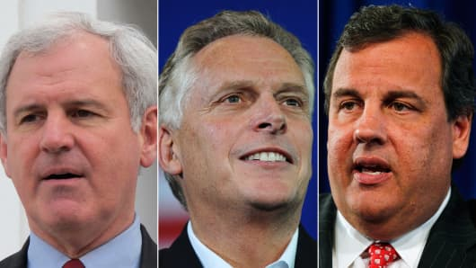 Republican Bradley Byrne (Ala.), Democrat Terry McAuliffe (Va.) and Republican Chris Christie (N.J.).