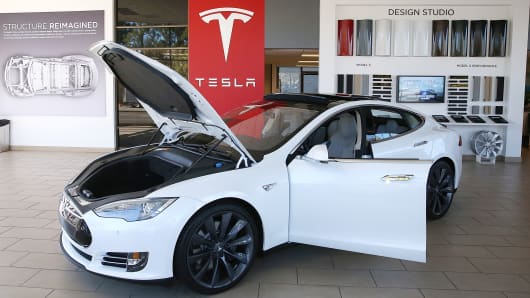 A Tesla Model S car is displayed at a Tesla showroom in Palo Alto, California.