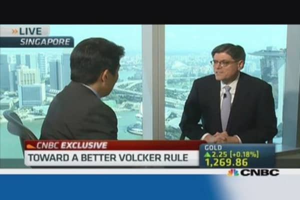 Volcker rule will get done this year: Jack Lew
