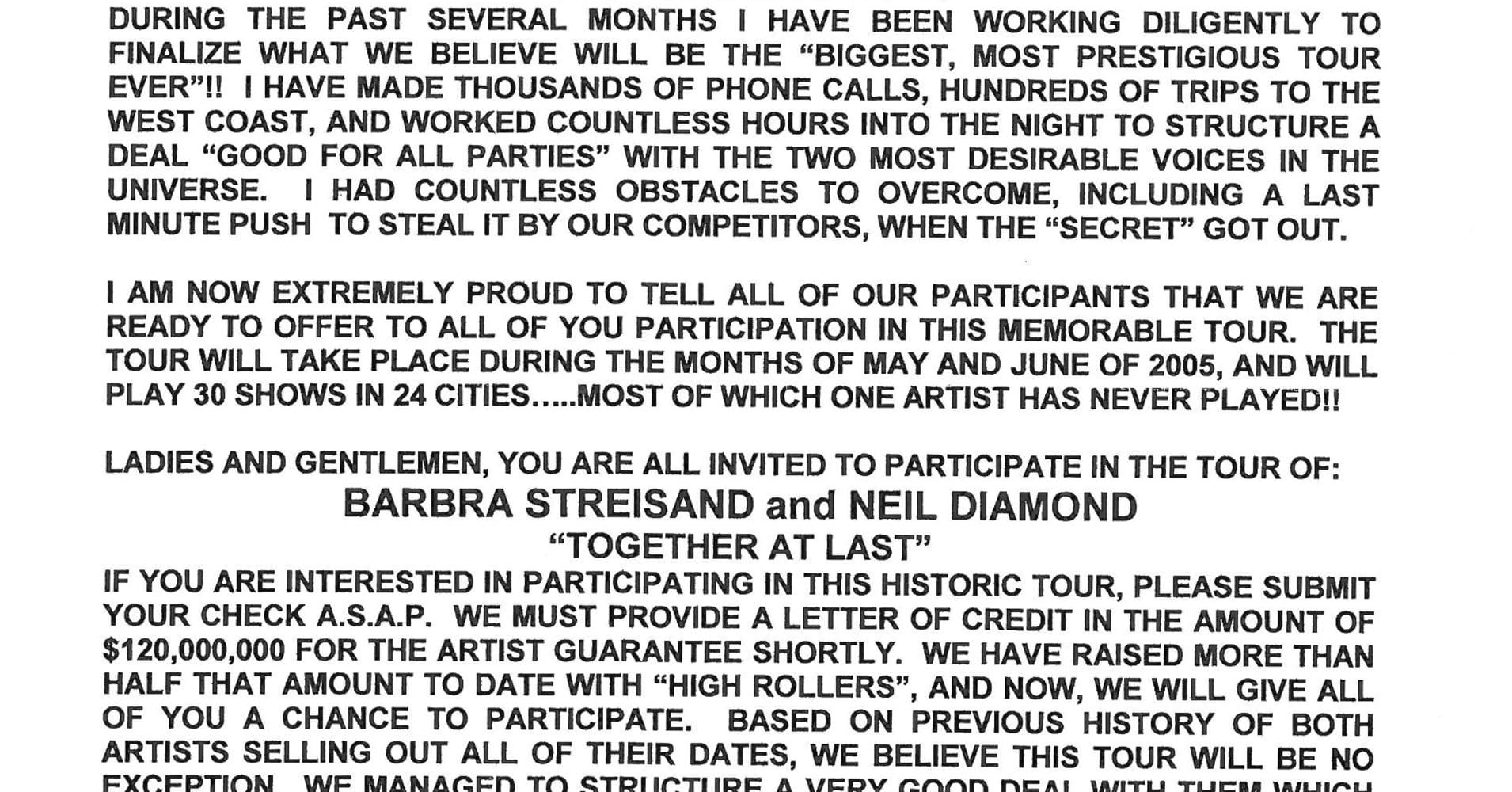 Tour announcement: $50,000 minimum