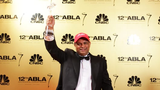 CEO of AirASia Tony Fernandes wins the Innovator of the Year award at CNBC Asia's Business Leaders Awards 2013 in Bangkok, Thailand.