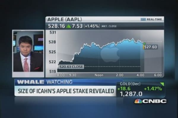 Icahn's stake in Apple valued at $1.8B