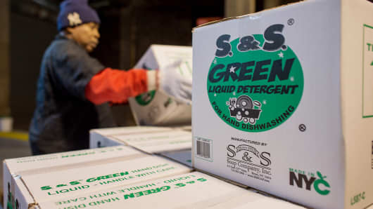 Boxes of liquid detergent sit stacked before shipment at the S & S Soap Co. manufacturing facility in the Bronx borough of New York.