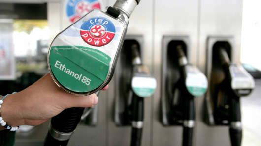 Gas pump with ethanol biofuel.