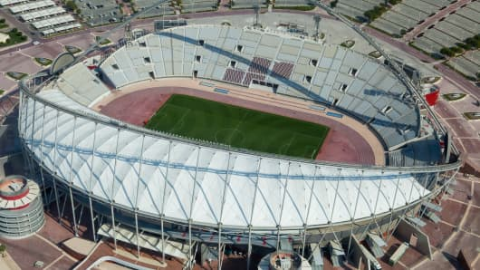 View of the Khalifa football stadium on January 6, 2013 in Doha, Qatar.