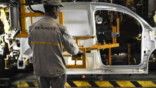 An employee at the Renault factory in Maubeuge, France
