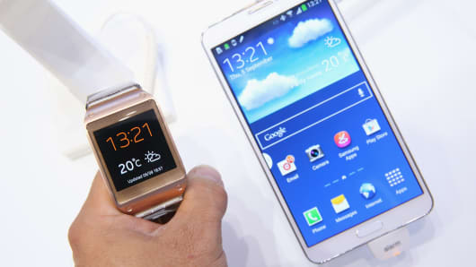 The new Galaxy Gear smartwatch and Galaxy Note 3 smartphone