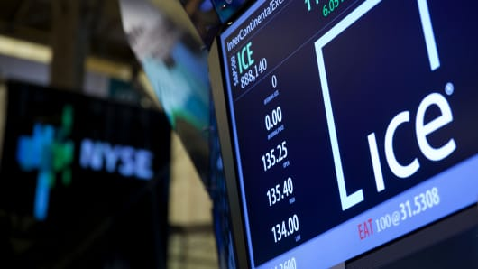 File Photo: InterContinentalExchange Inc. (ICE) signage and stock information are displayed on an electronic monitor on the floor of the New York Stock Exchange (NYSE).