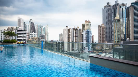 A poolside view overlooking the newer side of the Panama City skyline.