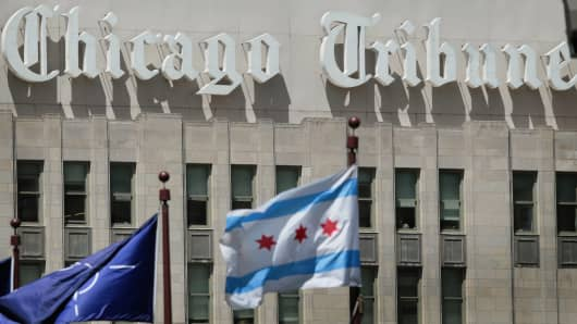 The Chicago Tribune headquarters in Chicago, Illinois.