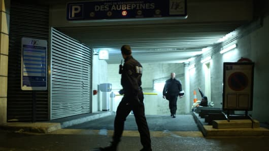 The underground parking lot in the western Paris suburb of Bois-Colombes where the Paris gunman was arrested on November 20, 2013.