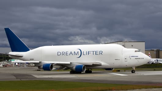 File photo: Boeing Co. 747 Dreamlifter cargo aircraft.