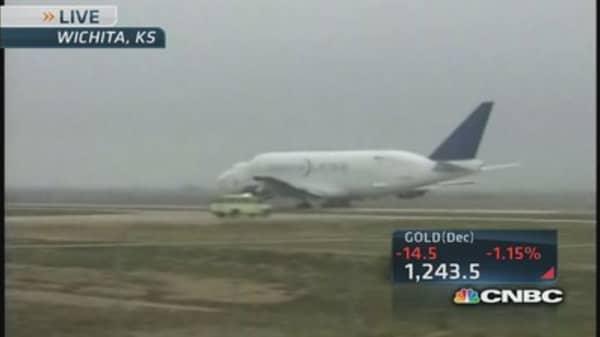 Boeing Dreamlifter lifts off