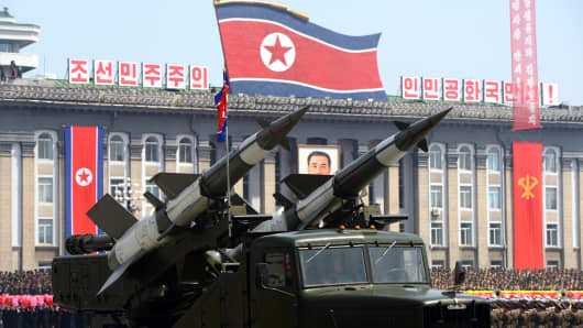 Missiles displayed during a military parade in Pyongyang.