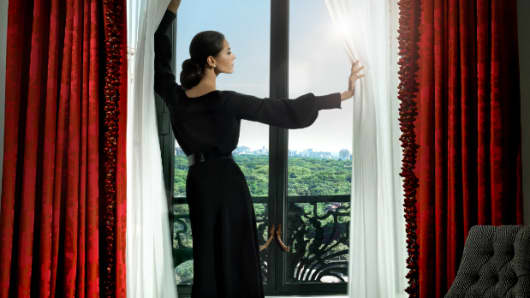 Detail from an ad from the St. Regis New York's new ad campaign.