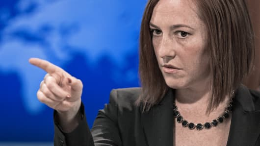 State Department spokeswoman Jen Psaki briefs the media