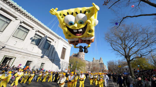 The SpongeBob SquarePants balloon makes its way through the streets of New York during the Macy's Thanksgiving Day Parade.