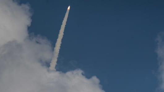 India's launch vehicle carrying the Mars Orbiter probe as its payload moments after lift-off on November 5, 2013