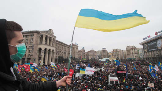 Demonstrators gather during a protest rally on December 1, 2013 in Kiev, Ukraine.