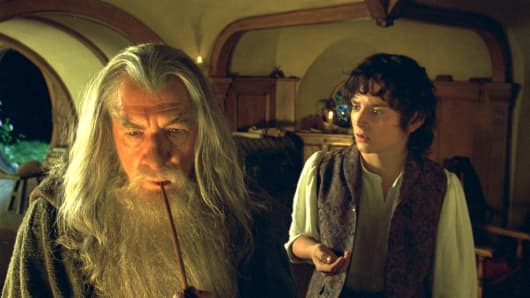 Ian McKellen and Elijah Wood in a scene from 'Lord of the Rings'