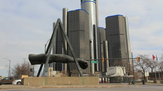 A memorial to boxer Joe Lewis stands near the headquarters of General Motors in Detroit.