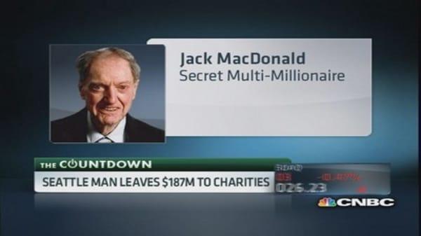 Secret millionaire leaves $187 million to charities