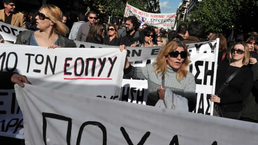 Doctors on strike in Athens