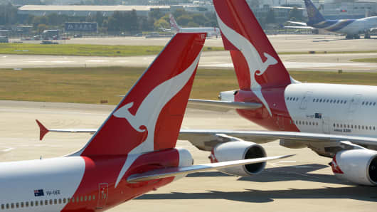 Qantas aircraft on the tarmac at Sydney's International Airport.