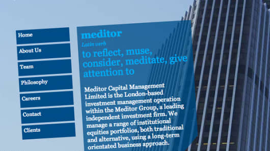 Screen shot of Meditor Capital Management home page