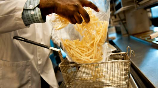 McDonald's french fries being prepared.