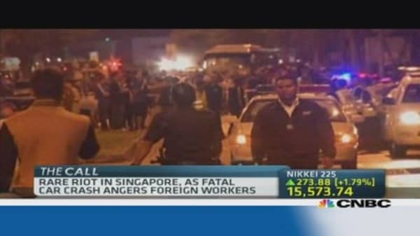Singapore sees rare riot after fatal car crash