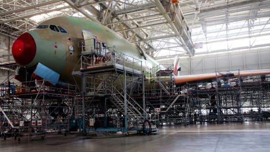 An A380 aircraft under construction at an EADS factory in Toulouse, France