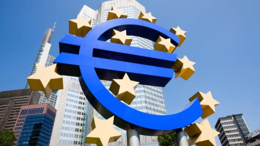 Euro sign outside the European Central Bank, Frankfurt, Germany