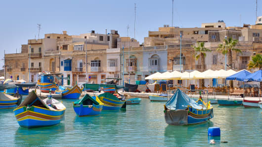 The fishing port of Marsaxlokk, Malta.