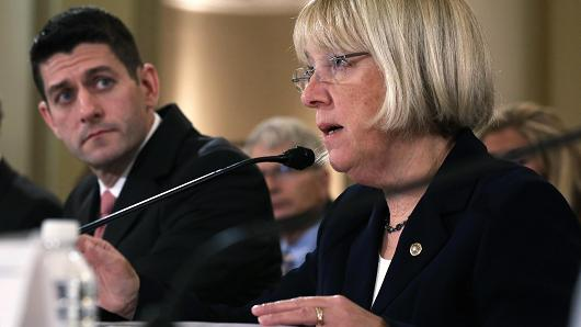 Sen. Patty Murray (D-WA) (R) speaks as Rep. Paul Ryan (R-WI).