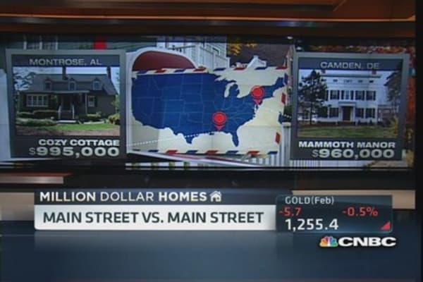 Million dollar houses on Main Street