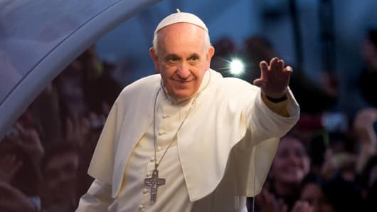 Pope Francis on his way to attend the Via Crucis during World Youth Day celebrations in July in Rio de Janeiro.