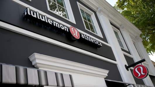 A sign hangs on a Lululemon Athletica on December 10, 2013 in Miami, Florida.