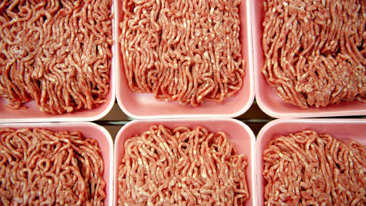 Ground beef in a meat department of a supermarket.