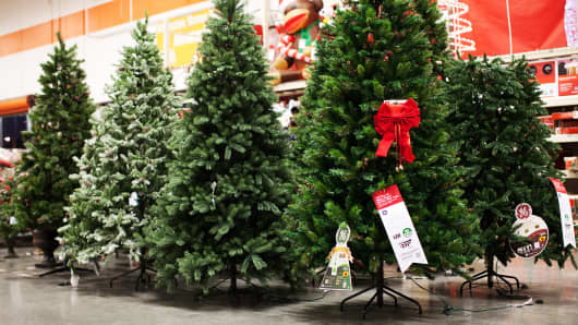 Christmas trees are displayed inside a Home Depot Inc. store.