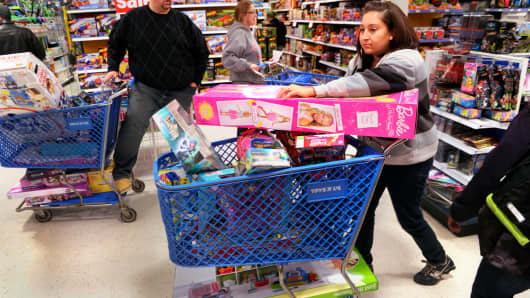 Shoppers at a Toys R Us store in Arapahoe County, Colorado.