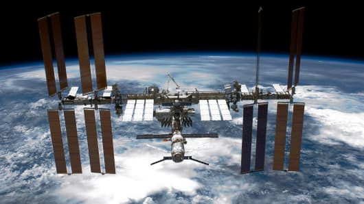 The International Space Station (ISS), as seen from NASA space shuttle Endeavour