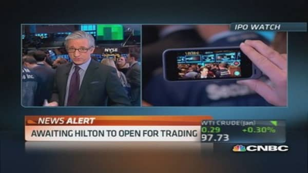 Hilton opens for trading at $21.30