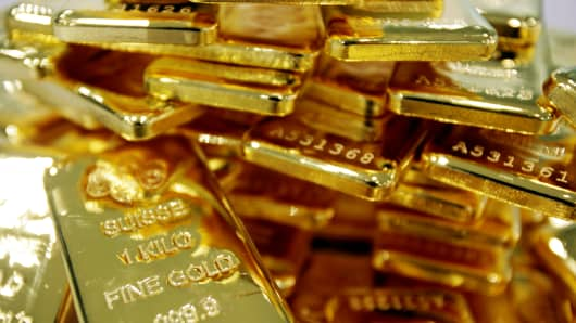One-kilogram bars of gold.