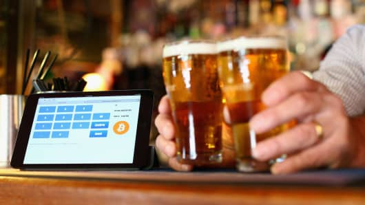 A terminal to accept payments using bitcoins on a bar in Sydney, Australia.