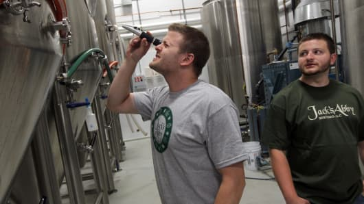 Brothers Jack, left, and Sam Hendler at their brewery, Jack's Abby Brewing.