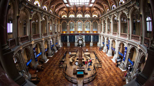 The interior of the Madrid Stock Exchange, or Bolsa y Mercado, is seen in Madrid, Spain.