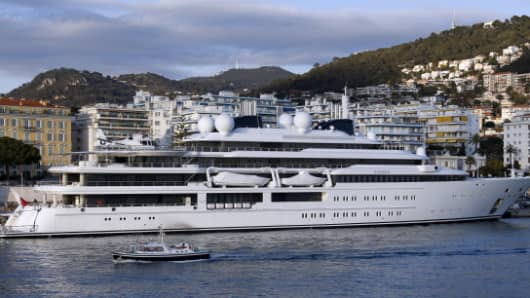 The Katara, a 124-meter superyacht, property of the emir of Qatar arrives on March 15, 2013, in Nice harbor, southeastern France