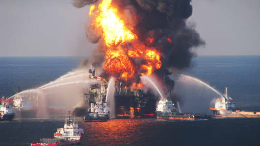 Fire boats battle a fire at the off shore oil rig Deepwater Horizon April 21, 2010 in the Gulf of Mexico.