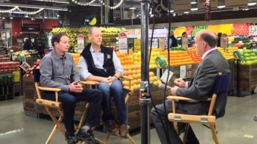 Jim Cramer talking with John Mackey and Walter Robb, the co-CEOs of Whole Foods.